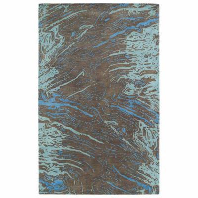 Kaleen Brushstrokes Abstract Hand-Tufted Wool Rectangular Rug