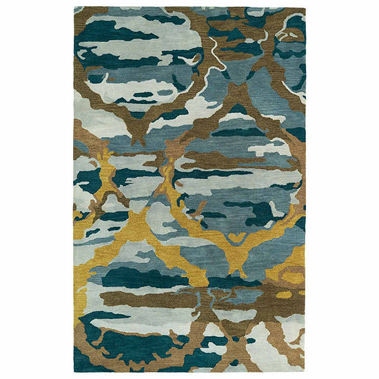 Kaleen Brushstrokes Ogee Hand Tufted Wool Rectangular Rug