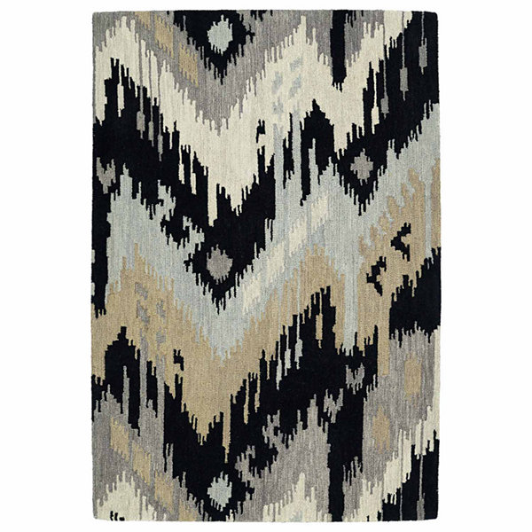 Kaleen Casual Ikat Hand-Tufted Wool Rectangular Rug