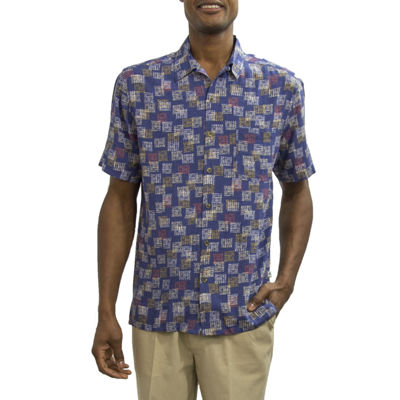 Steve Harvey Short Sleeve Pattern Button-Front Shirt