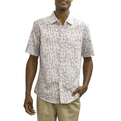 Steve Harvey Short Sleeve Pattern Button-Front Shirt