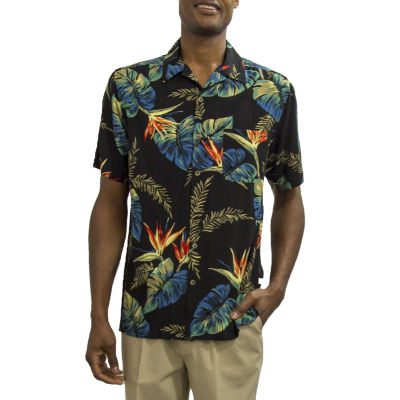 Steve Harvey Short Sleeve Pattern Button-Front Shirt-Big and Tall