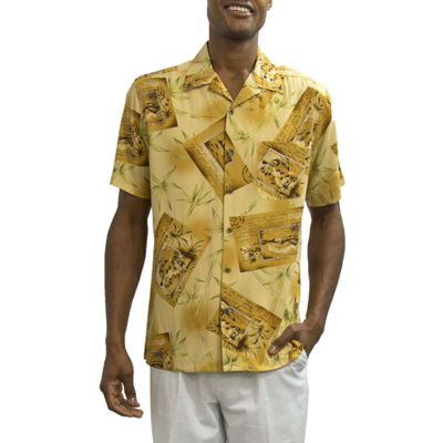 Steve Harvey Short Sleeve Pattern Button-Front Shirt-Big and Tall