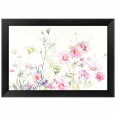 Metaverse Art Queen Annes Lace and Cosmos on WhiteFramed Print