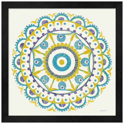 Metaverse Art Lakai Circle VI Blue and Yellow Framed Print