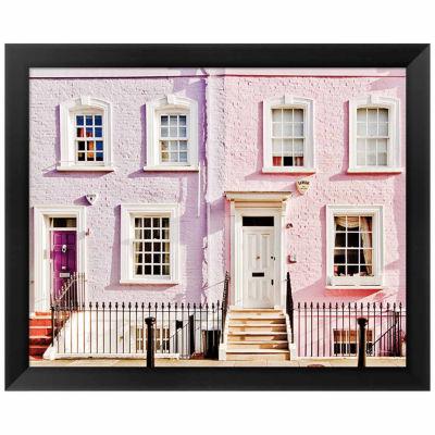 Metaverse Art London Pink Purple Houses Framed Print