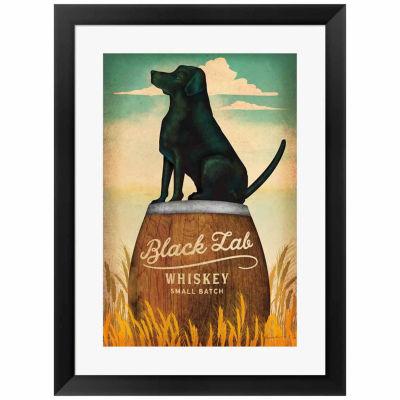 Metaverse Art Black Lab Whiskey Framed Print