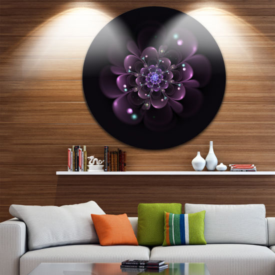 Designart Glowing Light Purple Fractal Flower on Black Floral Metal Circle Wall Art