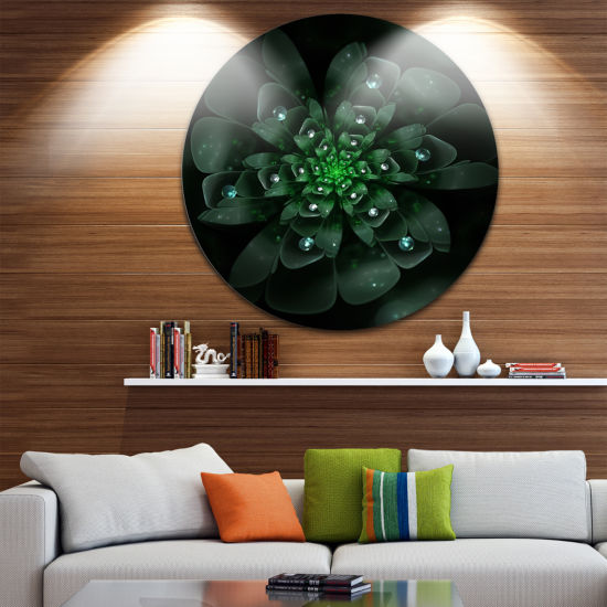Designart Glowing Crystal Green Fractal Flower Floral Metal Circle Wall Art