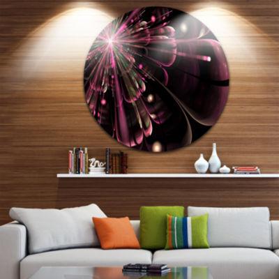 Designart Light Purple Digital Flower Petals Closeup Floral Metal Circle Wall Art