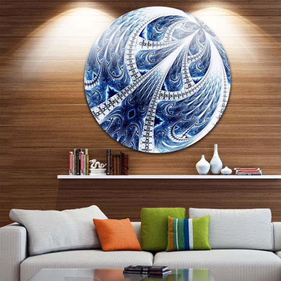 Designart Dark Blue Fractal Flower Pattern DigitalFloral Metal Circle Wall Art