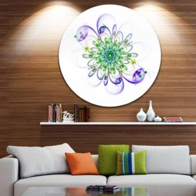 Designart Fascinating Green Purple Fractal FlowerFloral Metal Circle Wall Art