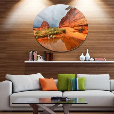 Designart Clear Lake Vermillion Cliffs Oversized Landscape Metal Circle Wall Art