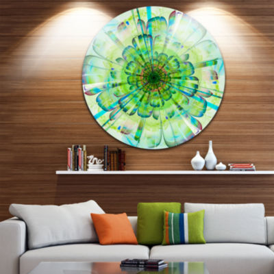 Designart Light Blue Digital Flower Petals Close up Floral Metal Circle Wall Art
