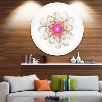 Designart Simple White Pink Fractal Flower Art Floral Metal Circle Wall Art