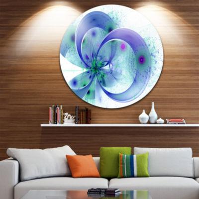 Designart Blue Fractal Flower with Curved Petals Floral Metal Circle Wall Art