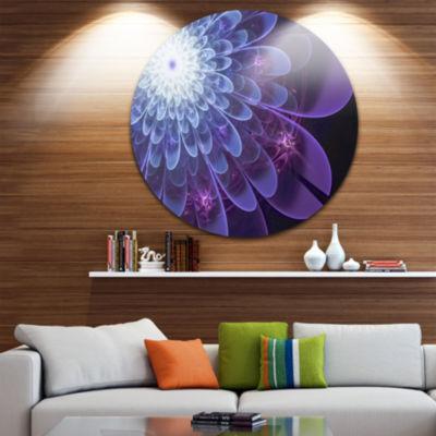 Designart Purple Fractal Flower Petals Close up Floral Metal Circle Wall Art