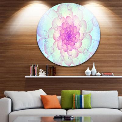 Designart Blue Fractal Flower with Soft Petals Floral Metal Circle Wall Art