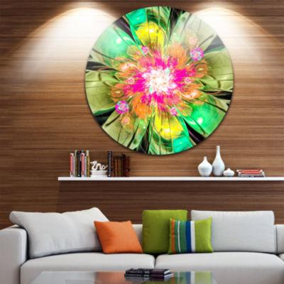 Designart Green Fractal Flower Petals Close up Floral Metal Circle Wall Art