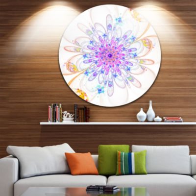 Designart Blue Fractal Flower with Abstract PetalsFloral Metal Circle Wall Art