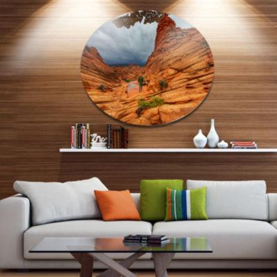 Designart Vermillion Cliffs Wilderness Oversized Landscape Metal Circle Wall Art