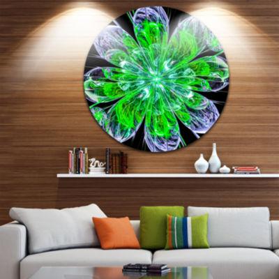 Designart Shiny Green Purple Fractal Flower on Black Floral Metal Circle Wall Art