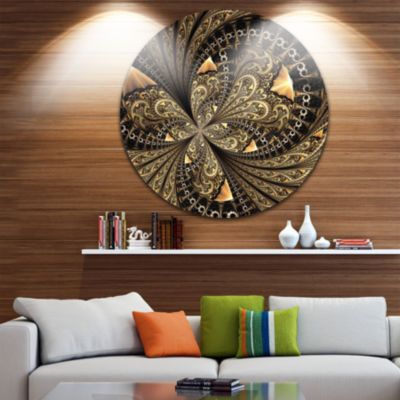 Designart Brown Fractal Flower Pattern Digital ArtFloral Metal Circle Wall Art