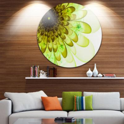 Designart Light Green Digital Flower Petal Close up Floral Metal Circle Wall Art