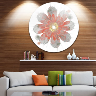 Designart Simple Red and White Fractal Flower Floral Metal Circle Wall Art