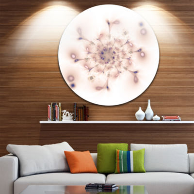 Designart Pink Fractal Flower with Abstract PetalsFloral Metal Circle Wall Art