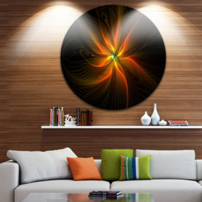 Designart Shiny Golden Yellow Fractal Flower on Black Floral Metal Circle Wall Art