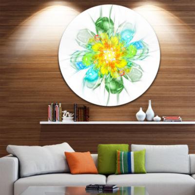 Designart Yellow Blue Glowing Fractal Flower Floral Metal Circle Wall Art