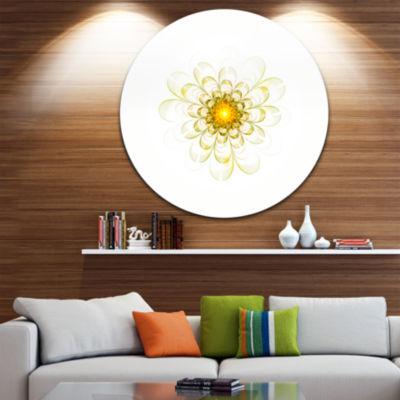 Designart Glowing Yellow Fractal Flower Digital Art Floral Metal Circle Wall Art