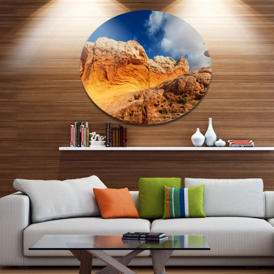 Designart Vermillion Cliffs under Blue Sky Oversized Landscape Metal Circle Wall Art