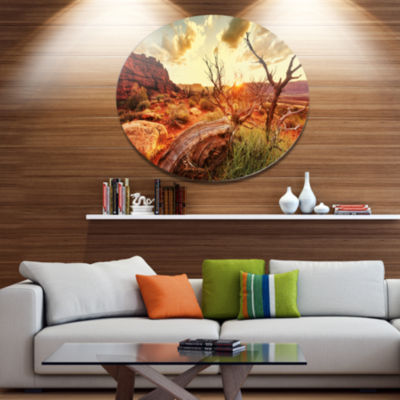 Designart Colorful Fall American Prairie OversizedLandscape Metal Circle Wall Art