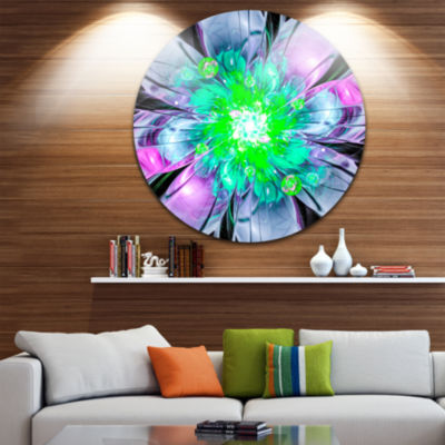 Designart Green Purple Fractal Flower Petals Closeup Floral Metal Circle Wall Art