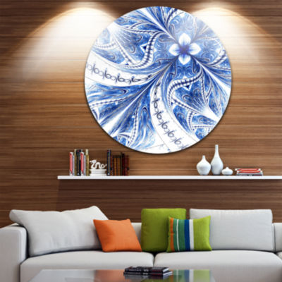 Designart Light Blue Fractal Flower Pattern Digital Floral Metal Circle Wall Art