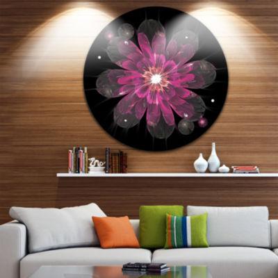 Designart Shiny Light Pink Fractal Flower on BlackFloral Metal Circle Wall Art