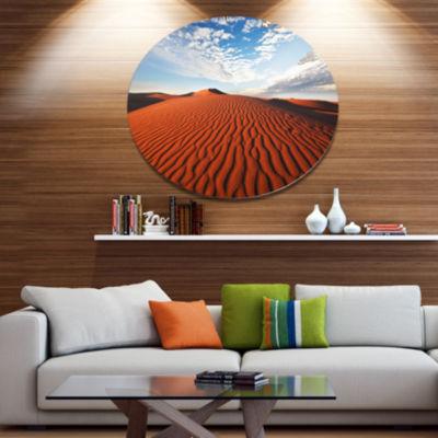 Designart Sahara Dunes under Bright Sky OversizedLandscape Metal Circle Wall Art