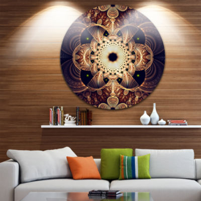 Designart Brown Red Fractal Flower Pattern DigitalFloral Metal Circle Wall Art