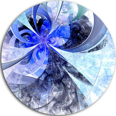 Designart Blue White Fractal Flower Pattern FloralMetal Circle Wall Art