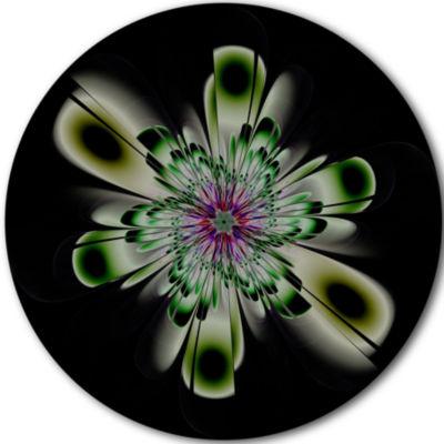 Designart Shiny Crystal Light Green Fractal FlowerFloral Metal Circle Wall Art