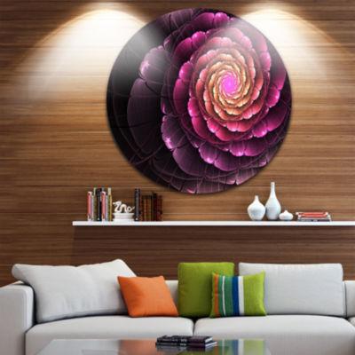 Designart Fractal Flower Light Purple Digital ArtLarge Flower Metal Circle Wall Art
