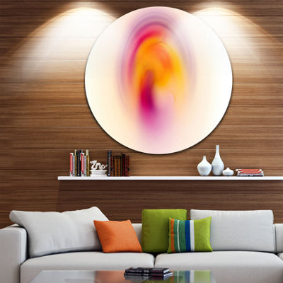 Designart Pink Yellow Luminous Misty Sphere Abstract Round Circle Metal Wall Art