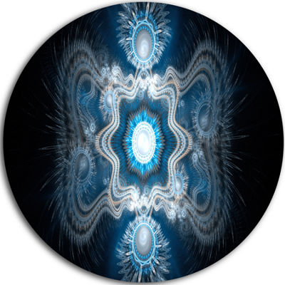 Designart Cabalistic Clear Blue Texture Abstract Round Circle Metal Wall Art