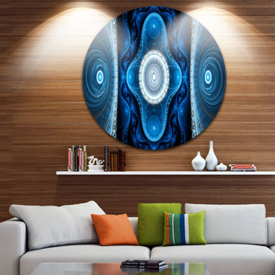 Designart Cabalistic Blue Fractal Design AbstractRound Circle Metal Wall Art