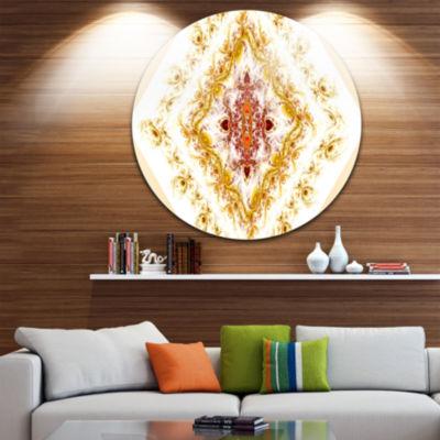 Designart Yellow Rhombus Fractal Design Abstract Round Circle Metal Wall Art Panel