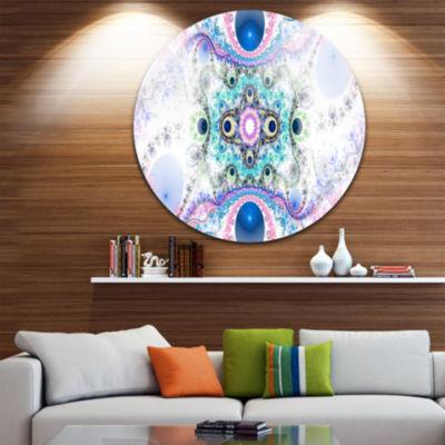 Designart Cryptical Blue Fractal Pattern AbstractRound Circle Metal Wall Art Panel