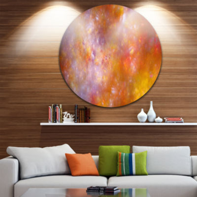 Designart Yellow Starry Fractal Sky Abstract RoundCircle Metal Wall Art