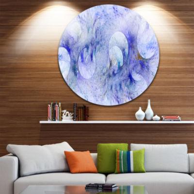 Designart Light Blue Fractal Glass Texture Abstract Round Circle Metal Wall Art